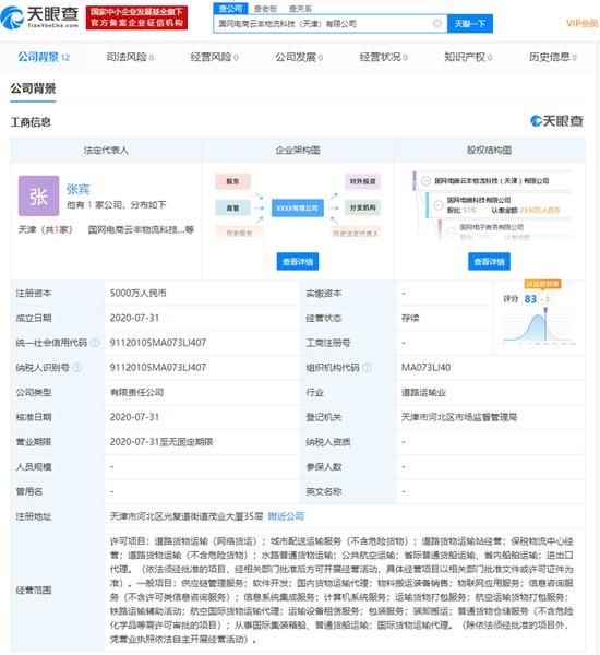 国家电网、顺丰控股子公司合资成立新公司 注资5000万元