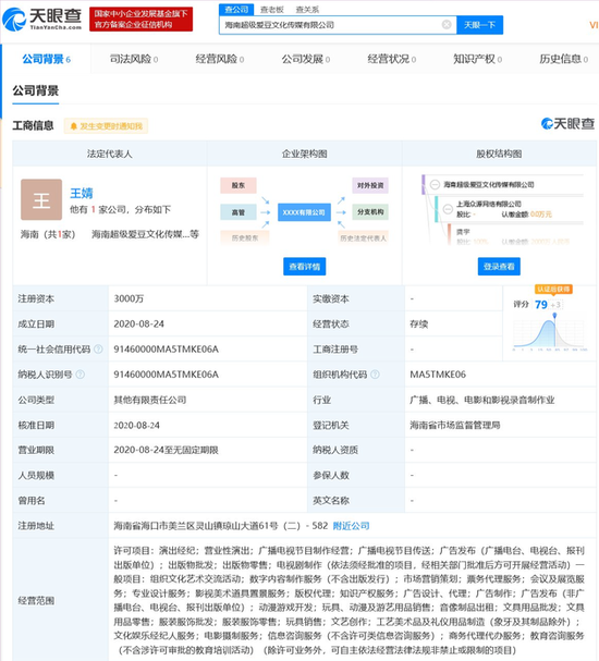 爱奇艺成立海南超级爱豆文化传媒公司 注资3000万元