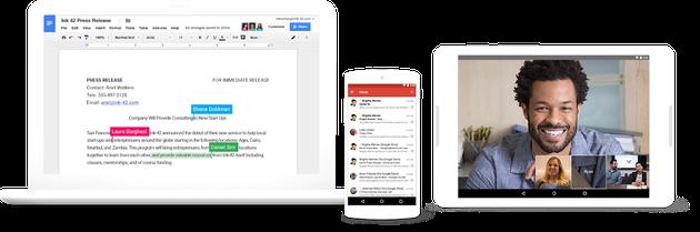 (现 G suite 套餐内的文档协作、即时通讯功能展示 图 | 谷歌)