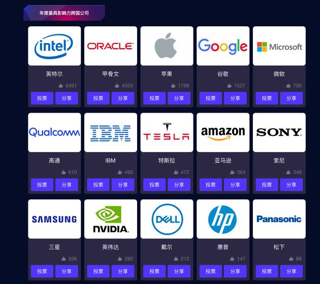 年度最具影响力跨国公司奖项排名