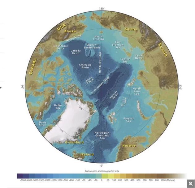 北冰洋地区周边国家和海底地形示意图