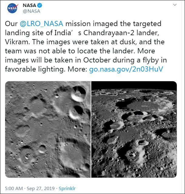"NASA公布照片:印度失联""月船2号""硬着陆(图)NASA月球航空"
