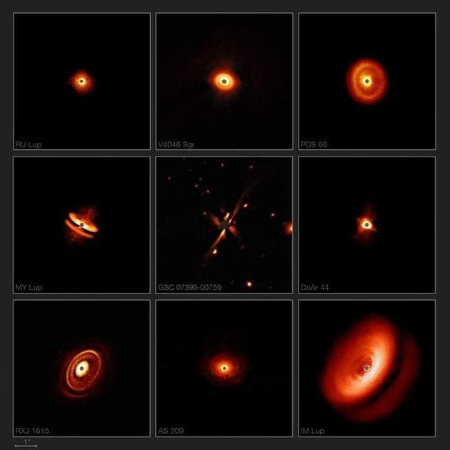 SPHERE探测仪拍摄的最新图片显示,尘埃盘有多种形状、大小和结构。
