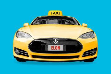 无人驾驶出租车站在十字路口