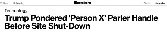 """美媒:Parler被封前,特朗普曾想用""""Person X""""的名字注册账号"""