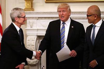 苹果CEO库克与特朗普在白宫会面 讨论贸易问题