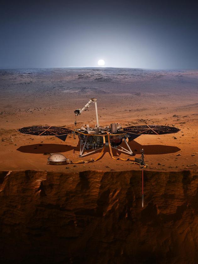 """图为艺术家绘制的""""洞察号""""在火星表面执行任务概念图。"""