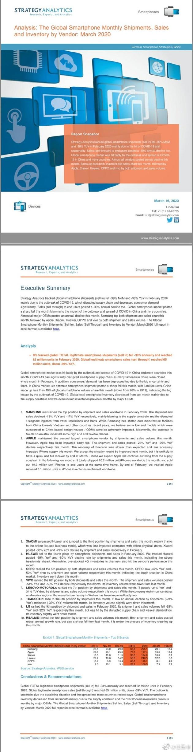 """StrategyAnalytics否认""""小米超越华为""""的报告"""