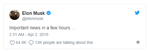 马斯克:几小时后会有重要新闻宣布。