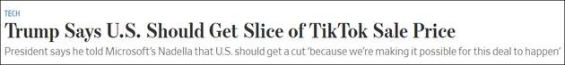 特朗普邀功:不管谁买TikTok 先给政府打笔钱