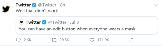 Twitter告诉用户:别等了 不会有编辑按钮