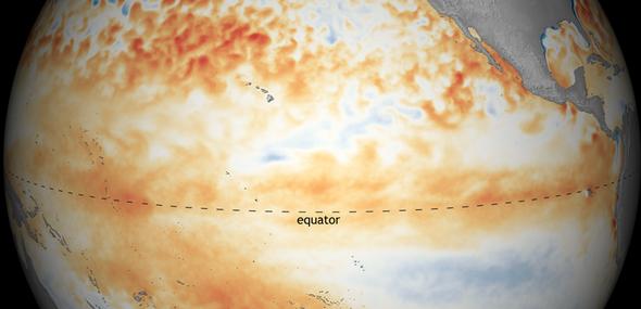 美国国家和大气管理局(NOAA)最新图像显示,今年1月份开始,热带太平洋出现较弱的厄尔尼诺现象。