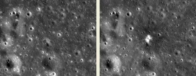 2013年3月17日NASA月球撞击监测计划拍摄到了一次持续约1秒的撞击闪光事件,在月面产生了直径18.8米的撞击坑,碎屑飞了数百米,最远至30公里。(左图为撞击前图像拍摄于2012年2月12日,右图为撞击后图像拍摄于2013年7月28日)