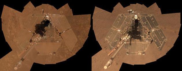 """右图为机遇号在2014年3月末拍的""""自拍照""""。与同年1月拍摄的一张相似照片相比,可以看出太阳能电池板上的大部分灰尘都被清理干净了。"""