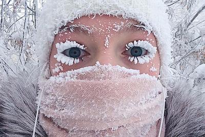俄远东测得零下67度低温 久在户外睫毛都结冰