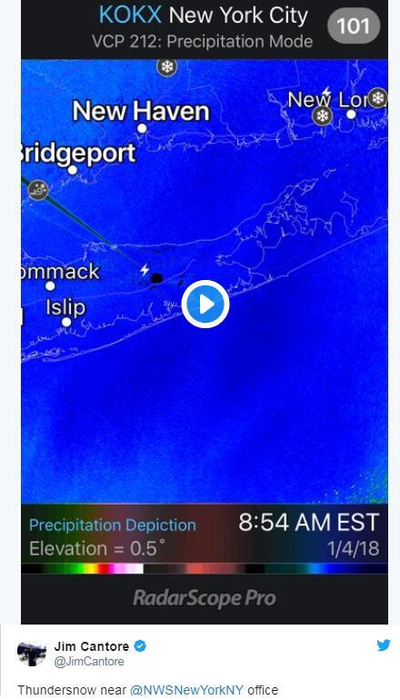 纽约附近发生的雷打雪事件。