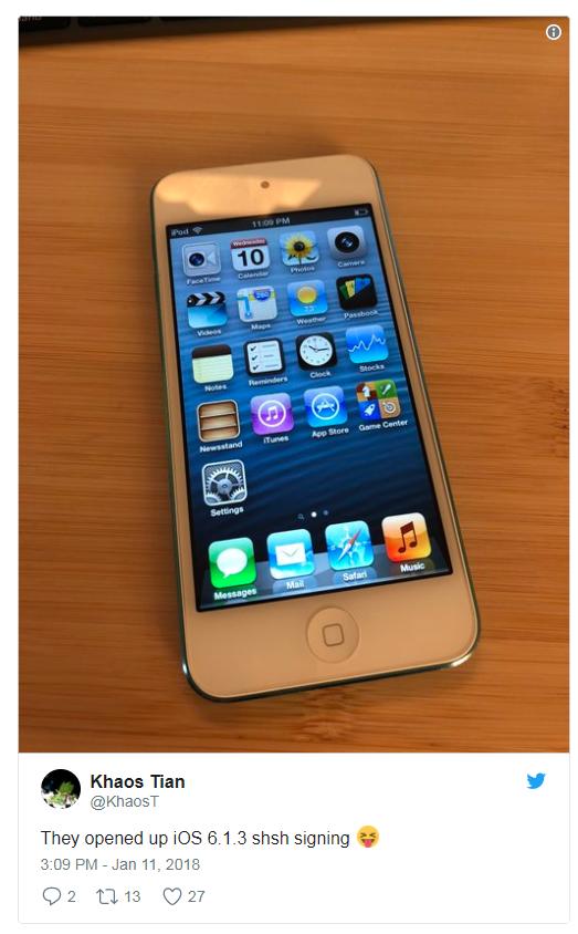有用户通过SHSH服务,成功降级到iOS 6.1.3