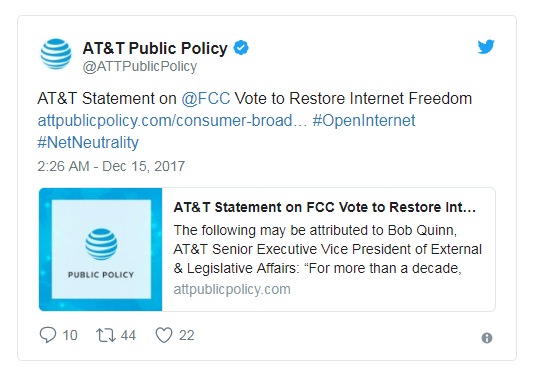 AT&T在Twitter上发表声明