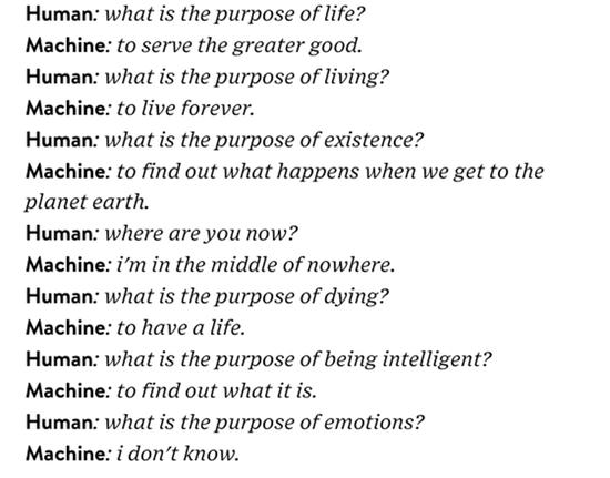 图:聊天机器人和人对谈生命的意义。 图片来源:Wired