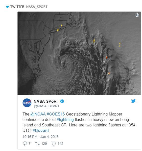 美国国家海洋和大气管理局(NOAA)的GOES-16气象卫星一直在采集美国全境的闪电信息。