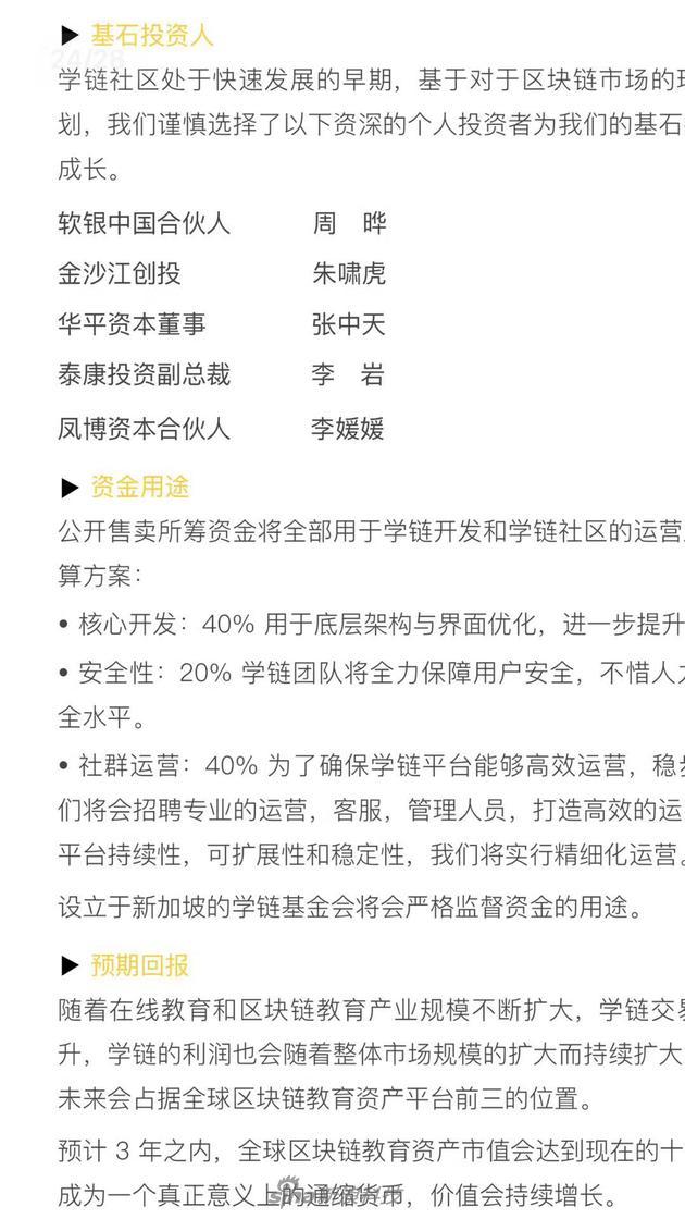 学链社区描述的投资人信息