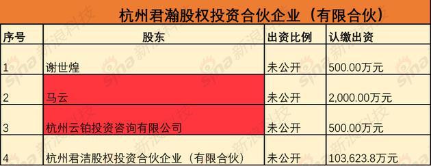 杭州君瀚股权投资合伙人公司股东图示