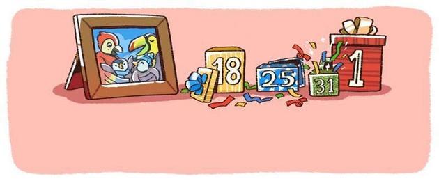 """谷歌跨年涂鸦:""""企鹅一家子""""欢庆2018新年"""