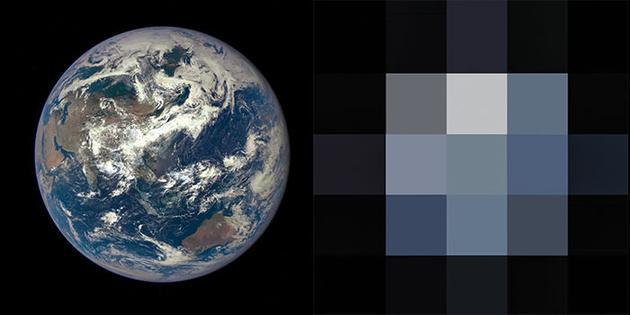 """科学家从""""深空气候观测台""""卫星上获取地球图像,并将这些图像的像素从400万像素降低到只有几个像素,让画面几乎完全无法辨识,然后在这样的图像基础上进行研究,这样做很重要,因为未来系外行星直接成像的效果可能也就与此类似"""