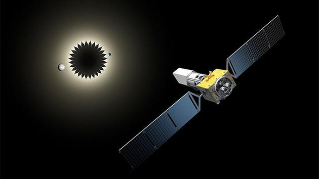 """美国宇航局规划中在2020年代中期发射的""""广域红外巡天望远镜""""(WFIRST)与""""星挡""""协同工作示意图。后者的特殊外观能够最有效的消除光线衍射效应,从而为系外行星直接成像创造条件"""
