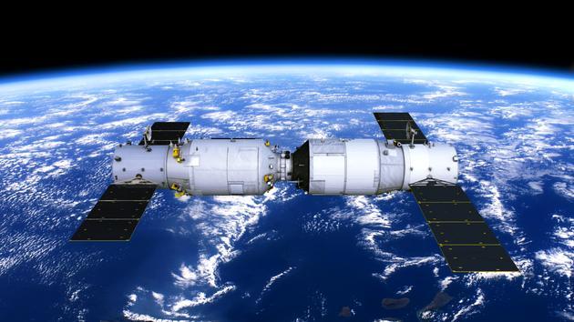 天舟-1与天宫-2组合体飞行示意图