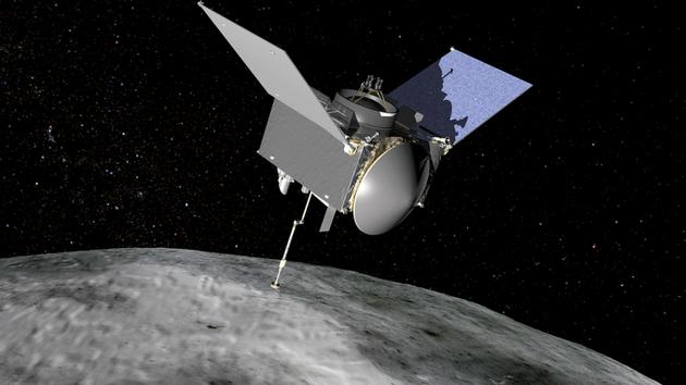 美国OSIRIS-Rex探测器在小行星表面取样示意图