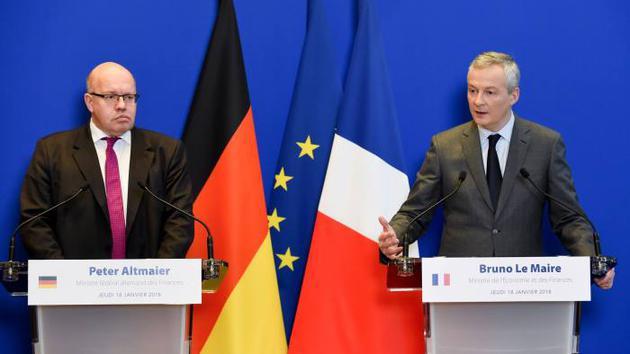 德国代理财政部长彼得·阿尔特迈尔(左)和法国财政部长布鲁诺·勒梅尔(右)