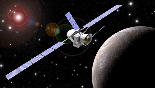 """正在水星轨道飞行的""""贝皮·哥伦布""""(BepiColombo)探测器"""