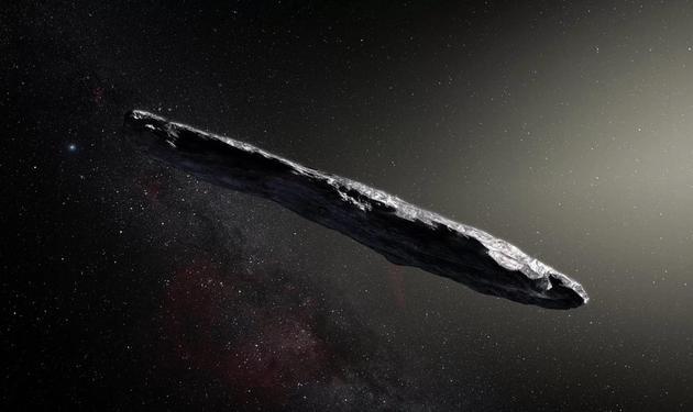 """艺术示意图,首颗被发现的来自太阳系之外的小天体""""奥陌陌"""""""