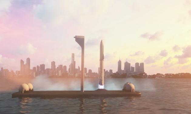 """SpaceX公司刚刚公开的计划用于未来火星殖民的超级重型火箭""""BFR""""发射情景的想象图"""