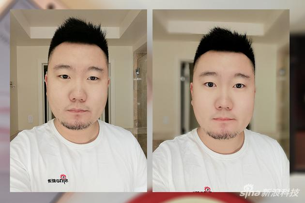 左侧为未开启美颜和人像模式,右侧开启美颜并打开人像模式