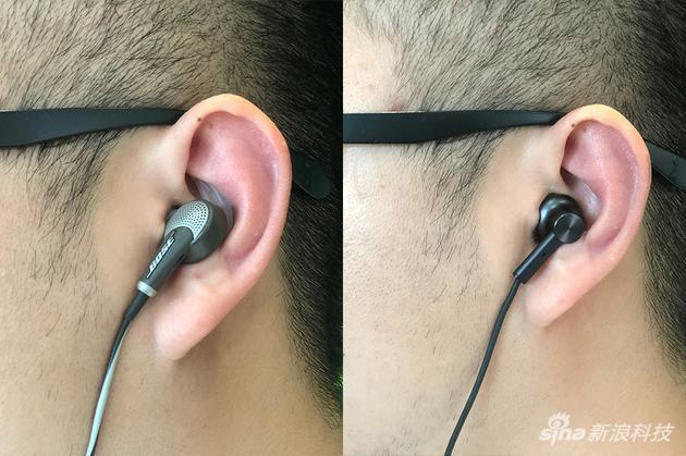 左为BOSE QC 20佩戴 右为小米降噪耳机佩戴体验