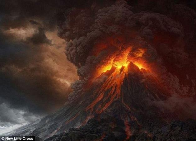 """《指环王》电影插图中魔多领地地狱般地形是由锯齿状山峰和岩层构成,以及《指环王》中高耸的""""末日火山(volcano of Mount Doom)""""。"""