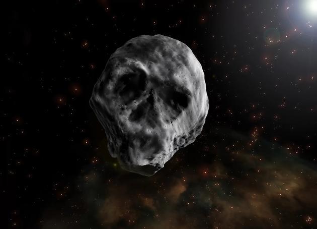 """图中是艺术家描绘的""""万圣节小行星""""2015 TB145,从某些角度观测它非常像一颗头骨。"""