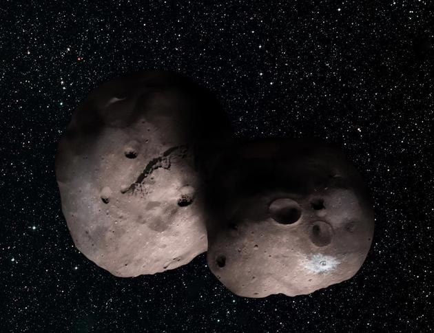 2014 MU69想象图。掩星观测显示,这颗小天体可能拥有至少一颗小卫星