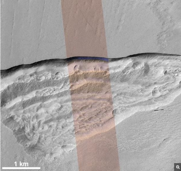 火星中纬度浅地表下发现冰层 厚度或超过100米