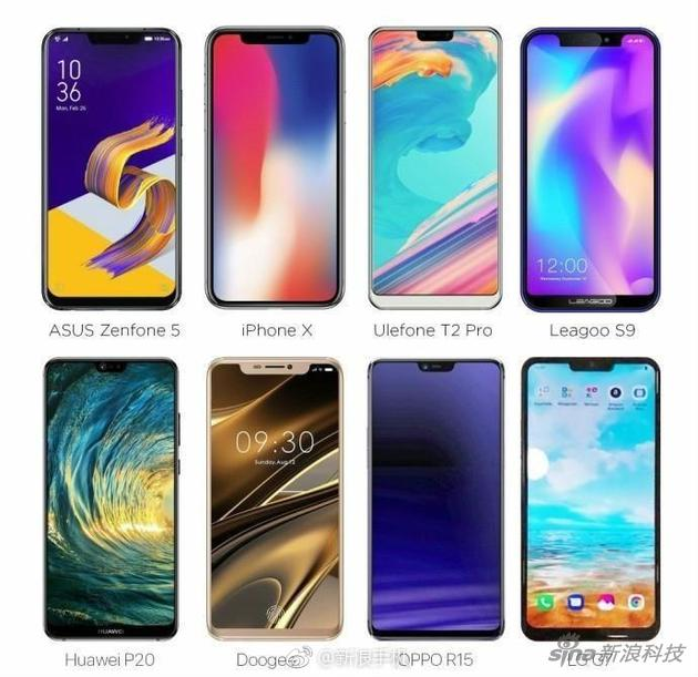 已经和即将发布刘海屏的安卓手机
