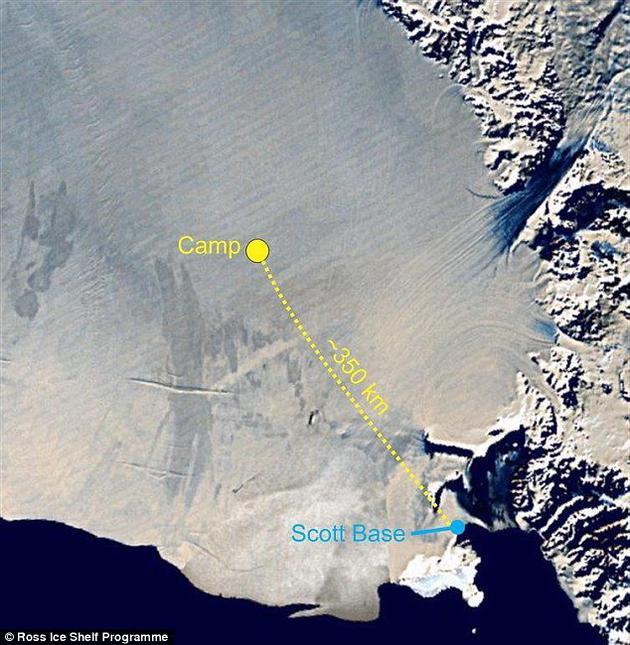 这支研究小组包括:热液钻井工人、冰川学家、生物学家、地震学家和海洋学家,他们在距离冰架前沿350公里处扎营,这是人造卫星拍摄的罗斯冰架宿营地。