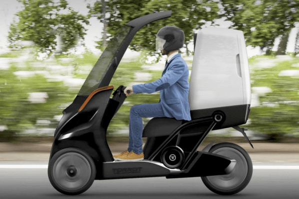 这辆零排放电动三轮车提供双座位和碳纤车顶
