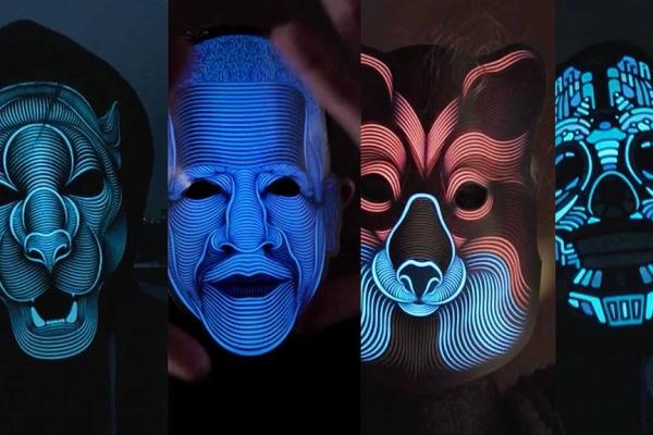 年末派对狂欢神器来了 这面具能跟着音乐发光