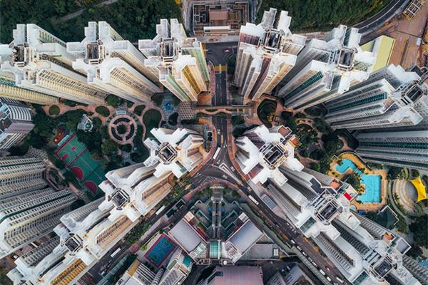 上帝视角的中国香港 航拍记录的不同美景