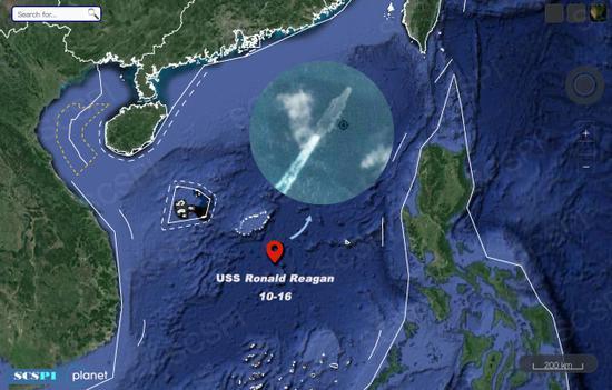 美军航母重返南海第二天 现身中沙大环礁附近海域