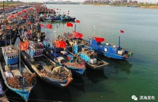 渔船在北塘渔港停泊