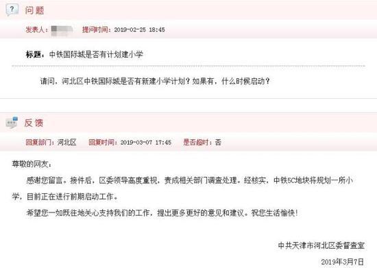 网民留言:河北区中铁国际城是否有新建小学计划?如果有,什么时候启动?