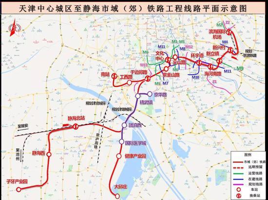 ▲天津中心城区至静海市域(郊)铁路平面示意图